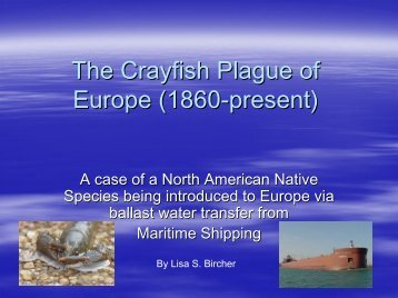 The Crayfish Plague of Europe (1860-present)