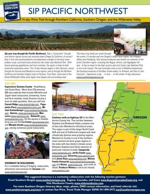 SIP PACIFIC NORTHWEST - Southern Oregon Visitors Association