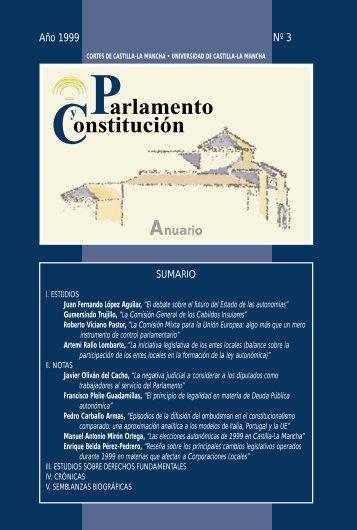 Parlamento y Constitución. Anuario núm.3 (1999) - Cortes de ...