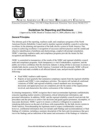 Guidelines for Reporting and Disclosure - SERC