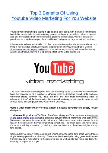 Top 3 Benefits Of Using Youtube Video Marketing For You Website
