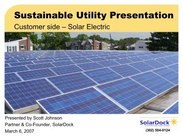 Customer Side Solar Electric - Sustainable Energy Utility
