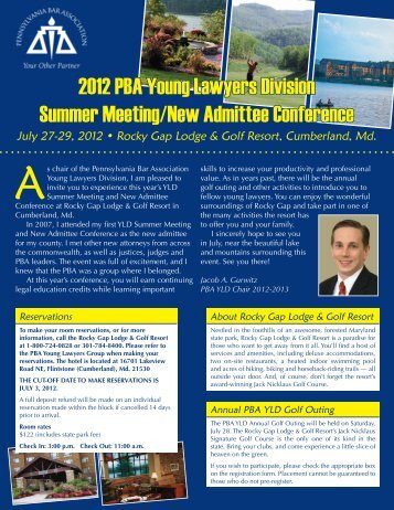 2012 PBA Young Lawyers Division Summer Meeting/New Admittee ...
