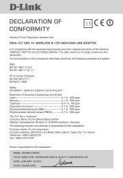 DECLARATION OF CONFORMITY - D-Link
