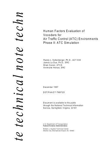 Human Factors Evaluation of Vocoders for Air Traffic Control (ATC ...