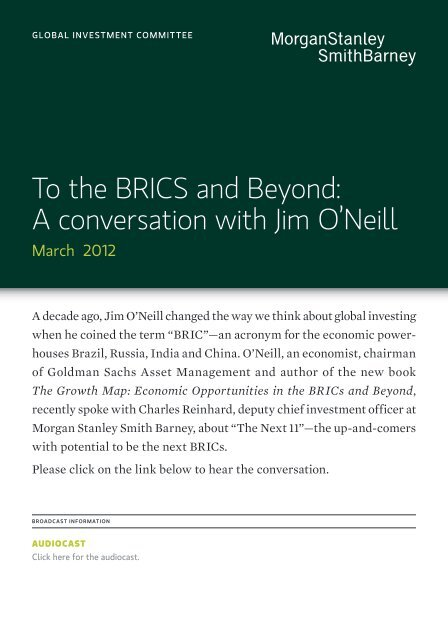 To the BRICS and Beyond - Morgan Stanley Smith Barney