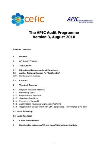 The APIC Audit Programme - Active Pharmaceutical Ingredients ...