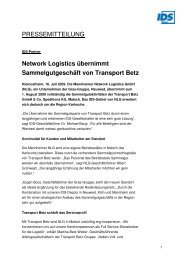 Network Logistics übernimmt ... - IDS Logistik GmbH