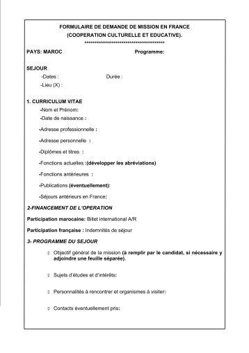 FORMULAIRE DE DEMANDE DE MISSION EN FRANCE ...
