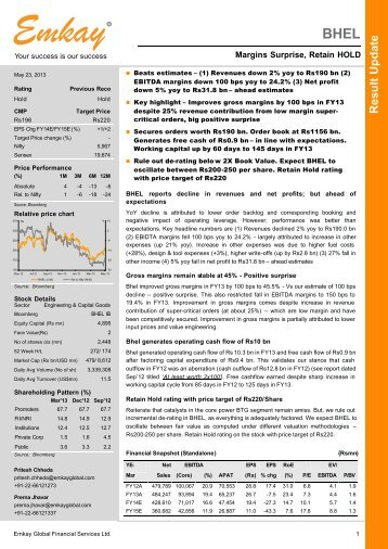 BHEL Q4FY13 Result Update - Emkay Global Financial Services Ltd.