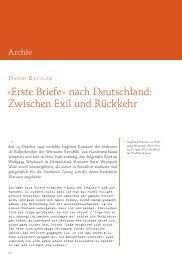 David Kettler: »Erste Briefe« nach Deutschland