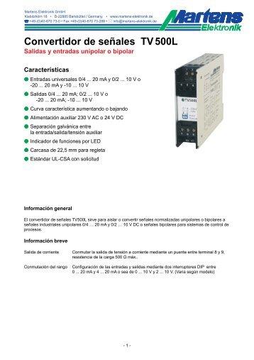TV500L-00- Prospekt - Martens Elektronik GmbH