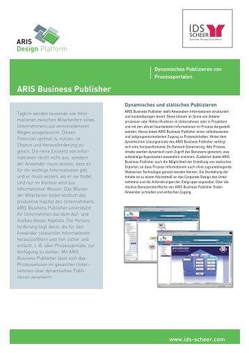 ARIS Business Publisher Factsheet - IDS Scheer AG