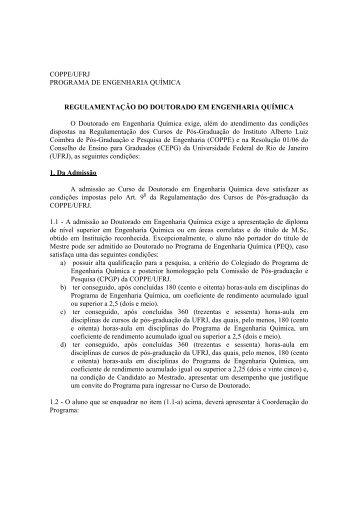 NOVO Regulamento do Curso de Doutorado do ... - peq / coppe / ufrj