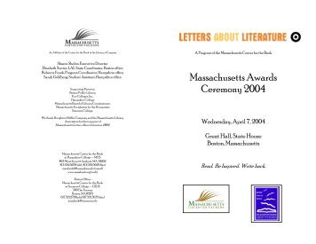 Event Program - Massachusetts Center for the Book