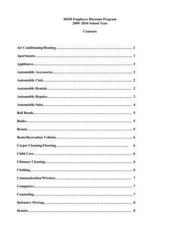 HISD Employee Discount Program 2009–2010 School Year ...