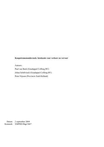Koopstromenonderzoek: betekenis voor verkeer en vervoer Auteurs ...