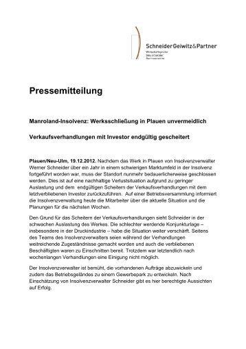 Pressemitteilung (PDF) - Schneider Geiwitz & Partner