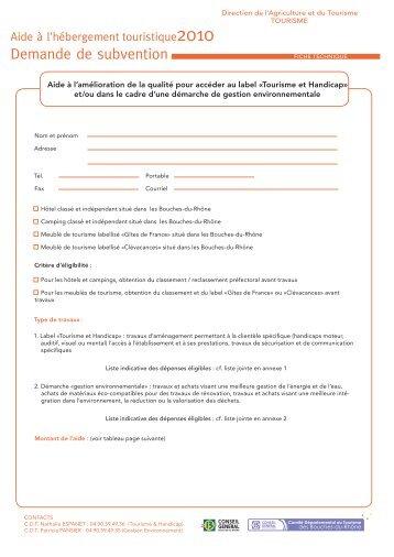 Demande de subvention - Bouches du Rhône
