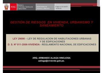 gestión de riesgos en vivienda, urbanismo y saneamiento