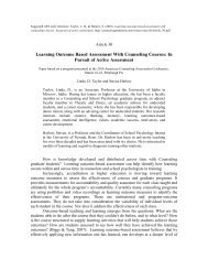 Learning Outcome Based Assessment With Counseling Courses: In ...