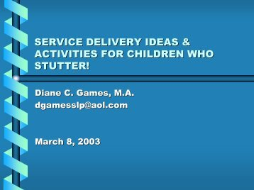 service delivery ideas & activities for children who stutter!