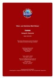 Preisliste für Kategorie: Speyside - und Getränke-Welt Weiser