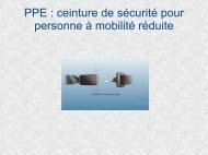 PPE : ceinture de sécurité pour personne à mobilité réduite