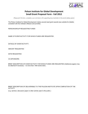 Polson Institute For Global Development Small Grant Proposal Form