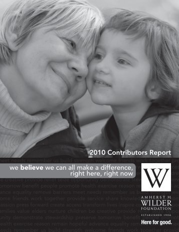 2010 Donor Supplement - Amherst H. Wilder Foundation
