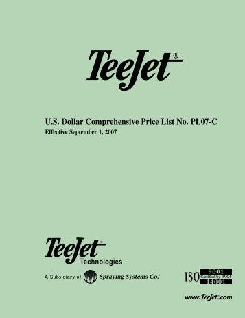 U.S. Dollar Comprehensive Price List No. PL07-C - TeeJet