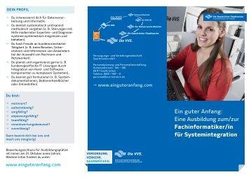 Fachinformatiker/in für systemintegration - Versorgungs- und ...