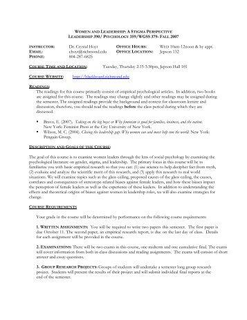 Social Psychology of Pluralism - Jepson School of Leadership Studies