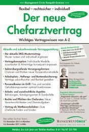 Seminar: Der neue Chefarztvertrag - Management Circle AG