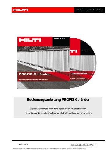 Bedienungsanleitung PROFIS Geländer - Hilti Deutschland GmbH