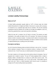 Limited Liability Partnerships - Lavelle Coleman