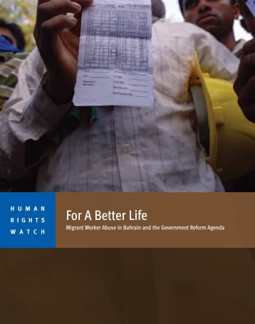 For A Better Life - Human Rights Watch