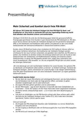 Pressemitteilung - Volksbank Stuttgart eG