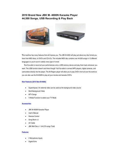 2010 Brand New JBK M- 4000N Karaoke Player 44,500 Songs, USB