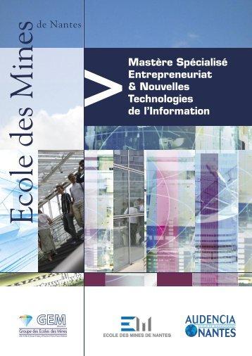 Mastère Spécialisé Entrepreneuriat & Nouvelles Technologies de l ...