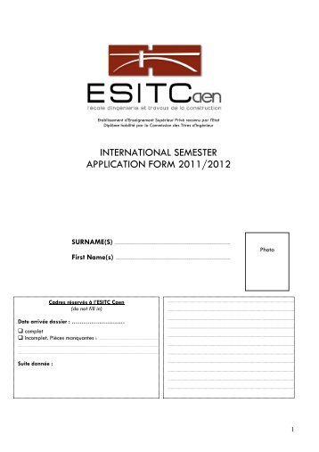 INTERNATIONAL SEMESTER APPLICATION FORM 2011/2012