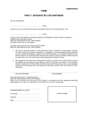 FORM PART 1: AFFIDAVIT BY LIFE PARTNERS - South Africa