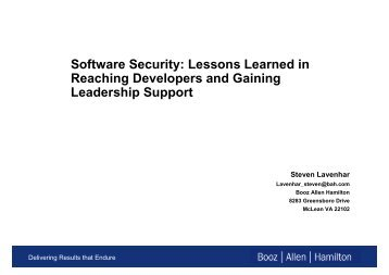 Software Security: Lessons Learned in Reaching ... - Build Security In