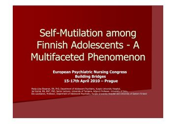 Self-Mutilation among Finnish Adolescents - A Multifaceted ... - Horatio