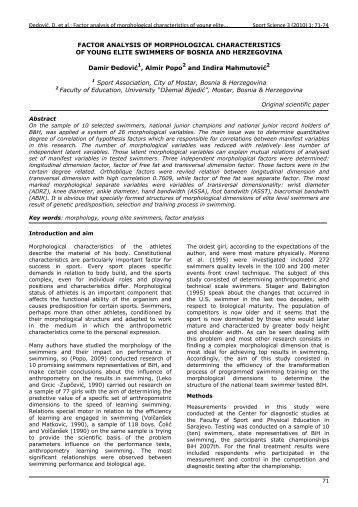 Šedović, D. et al.: Factor analysis of morphological ... - Sport Science