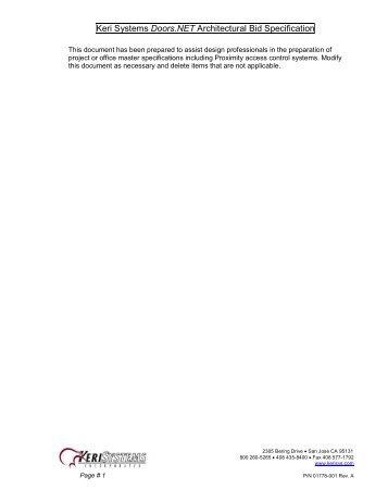Doors-Net_Bid_Specification Working 4_10 - Keri Systems