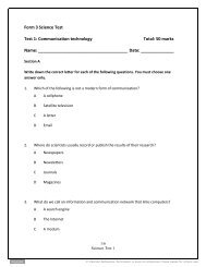 Form 3 Science Test Test 1: Communication technology ... - Pearson