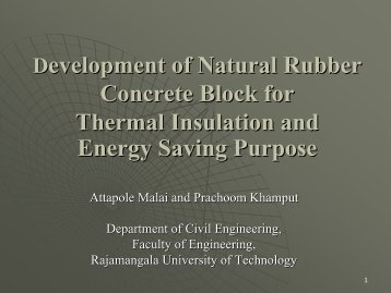 A Study of Natural Rubber for Developing Thermal Insulation and ...