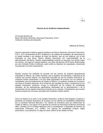 Opinión (DICTAMEN DE LOS AUDITORES) - Bansefi