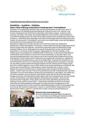 Rückblicke – Ausblicke – Einblicke Share Value Stiftung unterstützt ...